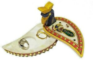 Marble Handcrafted Hand Painted Chopra Kumkum Box Wedding Engagement Ring Holder