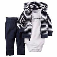 Carter's unisex baby boy girl navy blue hoodie gardigan bodysuit pants 3p set