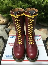 Vintage Steel Toe Dr Martens 9 boots 14-eye Made ENGLAND oxblood cherry red 1940
