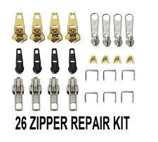 26pcs Zip Zipper Replacement Broken Repair Rescue Fix Kit Jeans Trouser Coat