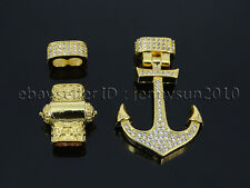 Zircon Pave Anchor Lock Clasp Set For 3mm Leather Cord Bracelet Connector Charm