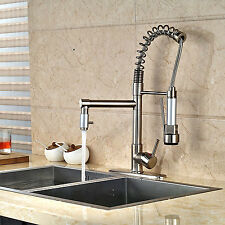 Brushed Nickel Kitchen Faucet Swivel Spout Single Hole Tap With 10''Cover Plate