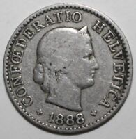Swiss Confederation 5 Rappen Coin 1888 B KM# 26 Switzerland Helvetia Five