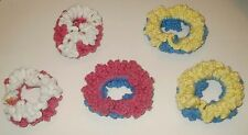NEW LOT OF 5 HANDMADE CROCHET HAIR SCRUNCHIES SET MULTICOLOR PINK YELLOW BLUE