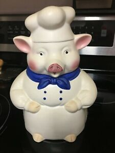 pig cookie jar vintage baker's hat and Blue bow tie