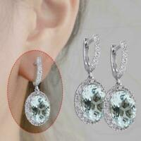 AQUAMARINE Sterling Aquamarine Gemstone Bridal Ear Dangle Hoops Studs I5H6 K0K9