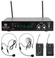 Rockville RWM80U Dual UHF Headset & Guitar Wireless Microphone System w/LCD