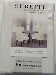 Ivory White Farmhouse Basketweave Dining Room Chair Slip cover Relaxed Fit