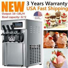Commercial Ice Cream Maker Machine Triple Frozen Drink Ice Cream Makers Us New