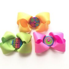 set of 3 ties for girls yellow pink and green with acrylic button handmade