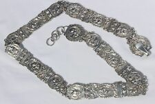 RARE Antique Solid 830 Silver Repousse High Relief Cherubs Link Chatelaine Belt