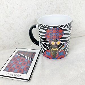 Prima Design Black African American Woman Zebra Bird Ceramic Coffee Mug Wallet