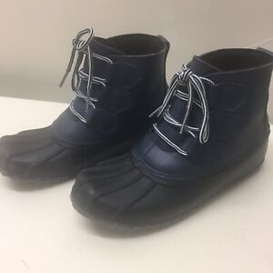 Women's Jodi Duck Rubber Over Ankle Boots - Merona Navy 6 Good Used Condition