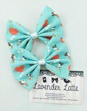 Retro Mickey and Minnie Handmade Fabric Hair Bow with Hearts