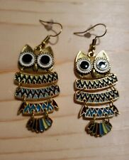 Long Gold Owl Metal Earrings