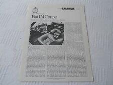 FIAT 124 COUPE 69 CAR & DRIVER Road Test REPRINT July 1969 Fiat 124 Sport Coupe