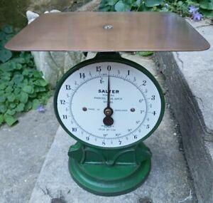 Lovely Original Example Antique Salter Brass & Enamel Face / Green Postal Scales