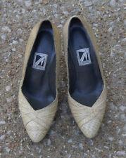 Vintage 1980s J. Renee Beige Taupe Snakeskin Pointy Toe Pumps Heels 5M