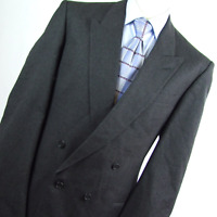 Pinstripe Mens Grey Wool Blend Double Breasted Suit Jacket Size 44