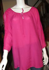 STUDIO WORKS WOMANS 2X PEONY PASSION BRIGHT PINK SPLIT SHOULDER SUMMER TOP NWT