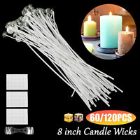 60/120PCS Candle Waxed Wick Sticker Cotton Core DIY Making Tool Supplie w/Holder