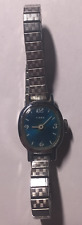 Vintage Ladies Timex Watch Parts/Repair Blue Dial Speidel USA Silver Band