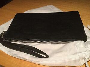 New Black Kid Leather Clutch Bag, Purse, Silver Zip Trims,Detachable Wrist Strap