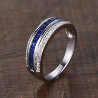 14k White Gold Over 2CT Princess Cut Sapphire & Diamond Unisex Wedding Band Ring