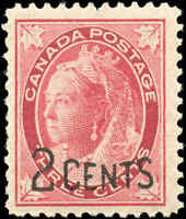 Canada Mint NH F+ Scott #87 1899 2c-on-3c Provisional Stamp