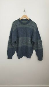 Vintage Wool Size L ( Large ) Blue And Green Knit Long Sleeve Jumper