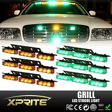 54 Green Amber LED Emergency Car Vehicle Flash Strobe Light For Windshield Grill