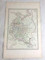 1846 Ancien Carte De Russie The Russe Empire Rare Main Coloré Gravure