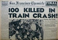 9-1944 September 7  TRAIN CRASH PA 100 DEAD - ITALY - San Francisco Chronicle