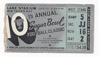 1944 Sugar Bowl college football ticket stub Georgia Tech vs Tulsa Hurricane
