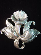 Silver Pewter ORCHID Pin ~ Flowers in the Garden
