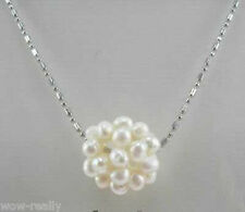 Pretty 14mm White Freshwater Pearl Ball Pendant Necklace Chain 17''