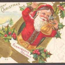 SANTA CARRIES SMALL CAT,GOLD BELL,CHRISTMAS  POSTCARD