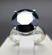 8.93cts 13.92mm Real Natural Black Diamond Ring AAA Grade & $4665 Value