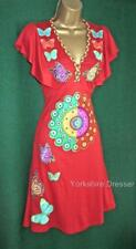 Desigual Red Fecha Fit'n'flare Stretch Jersey Butterfly Dress -uk 8 10 Small