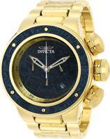 Invicta Mens Subaqua Sea Dragon Aztec Gold-Tone Blue Wood Dial SS Bracelet Watch