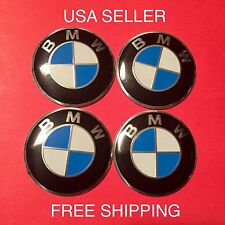 BMW 4Pcs Black/Blue 56mm Domed Car Emblem Badge Wheel Center Cap Decals Stickers