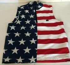 Men's LOUD MOUTH Small American Flag Theme Polyester Adjustable Mesh Vest Jacket