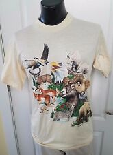 Colorado Animal Habitat 1991Tan Yellow T Shirt Large Vintage Bear Eagle Wolf