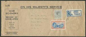 BAHAMAS 1943 OHMS War Economy registered cover Nassau to USA...............56865