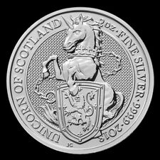 2018 2 oz Queen's Beast Unicorn of Scotland 999.9 Silver BU Coin from Mint Roll