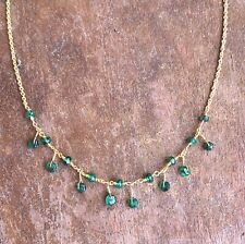 "emerald gemstone necklace beaded 16"" layer stack may birthstone gift 18k gold"