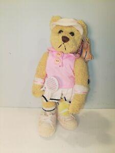 Brass Button Tennis Sports Bear Missy Stand Plush Visor Ball Racquet New 2001