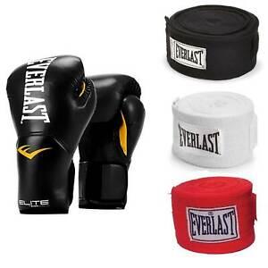 Everlast Black Elite Pro Style Boxing Gloves 8 Oz & 120-Inch Hand Wraps (3 Pack)