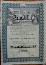 """ACTION DE JOUISSANCE. """" SOCETE DES MINES D'OR KILO-MOTO"""""""