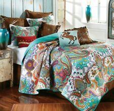 PAISLEY JEWEL 3pc FULL / QUEEN QUILT SET : COTTON TURQUOISE GREEN BOHO NIRVANA